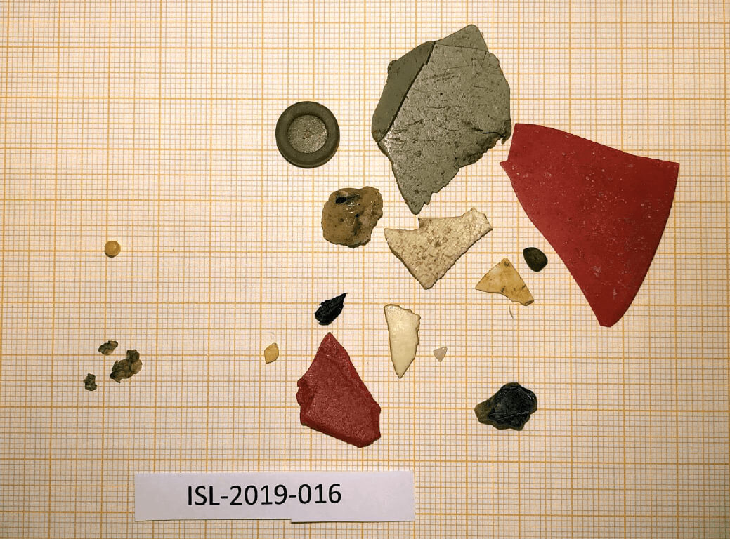 Plast sem fannst í meltingarfærum eins fýls árið 2019 ofan á millimetrapappír
